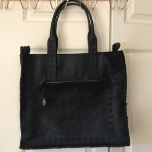 Lucky Brand large black leather tote bag.